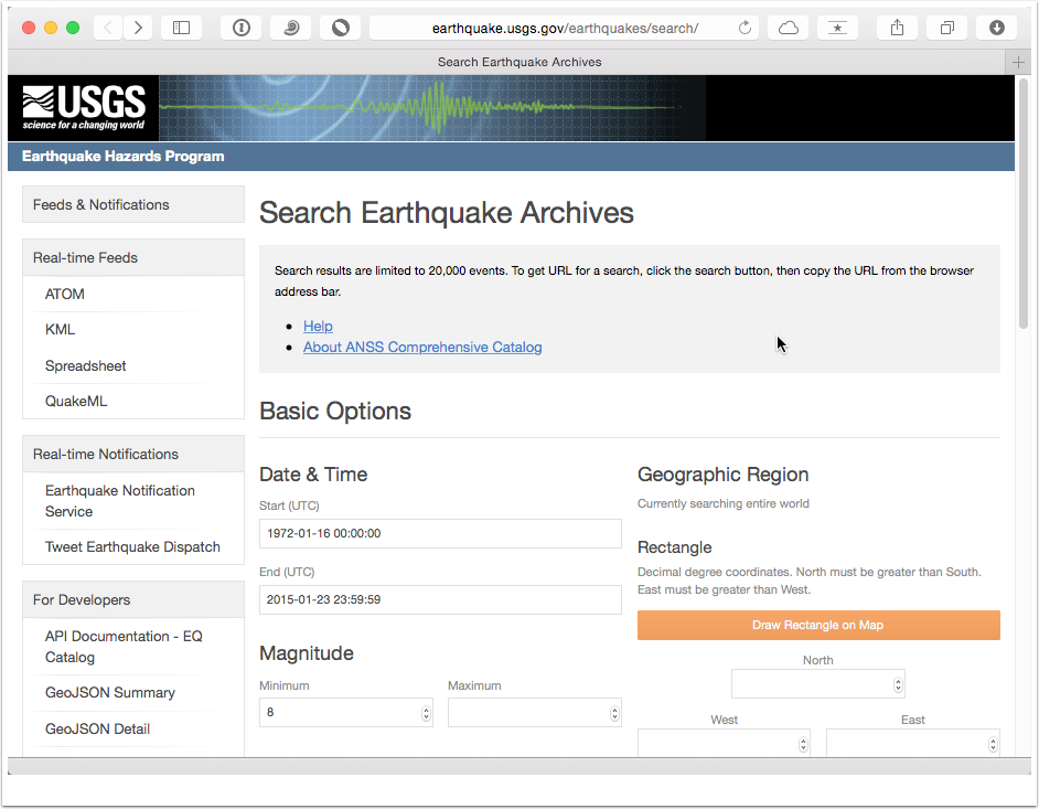 Search the USGS Earthquake Catalog